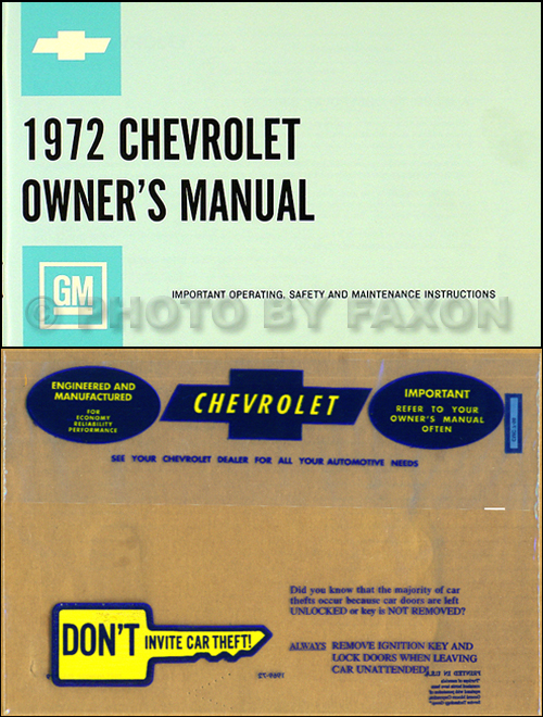 1972 Chevy Owner's Manual Package Reprint Impala, SS, Caprice, Bel Air