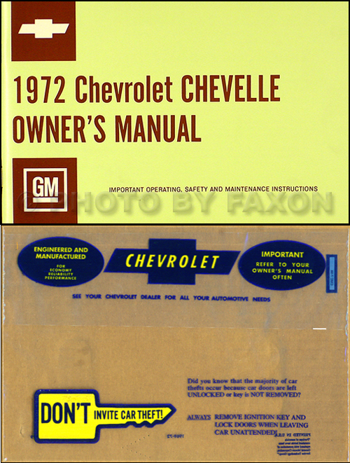 1972 Chevelle Wiring Diagram Manual Reprint Malibu Ss El Camino