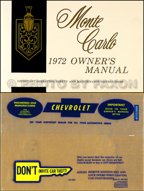 1972 Monte Carlo Wiring Diagram Manual Reprint