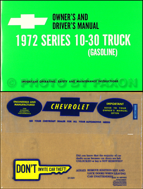 1972 Chevrolet ½-, ¾-, & 1-ton Truck Owner's Manual Package Reprint Pickup/Suburban/Blazer/P-Chassis