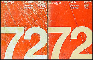 1972 Dodge Car Repair Manual Original Set