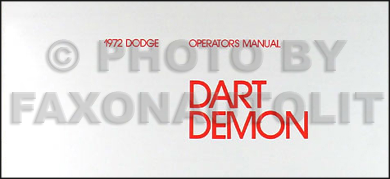1972 Dodge Dart & Demon Owner's Manual Reprint