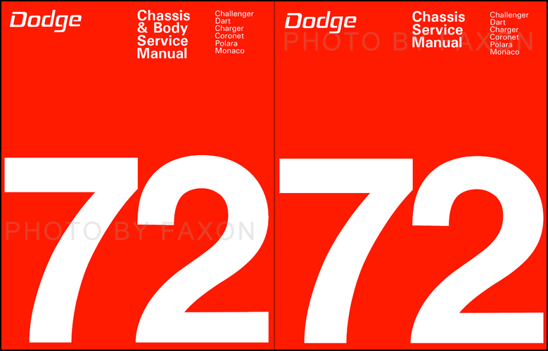 1972 Dodge Car Repair Manual Reprint Set for all models