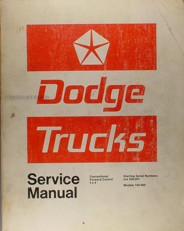 1972 Dodge Pickup Truck Shop Manual Original 100-800