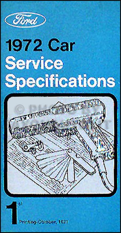 1972 Ford Lincoln Mercury Service Specs Manual Original