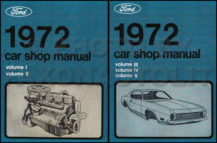 1972 Ford Lincoln Mercury Car Repair Shop Manual Reprint 5-Volume 2-Book Set