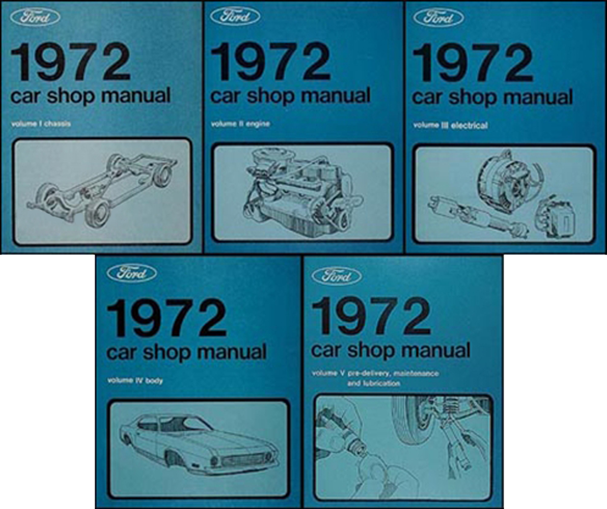 1972 Ford Lincoln Mercury Car Repair Shop Manual Reprint 5-Volume Set