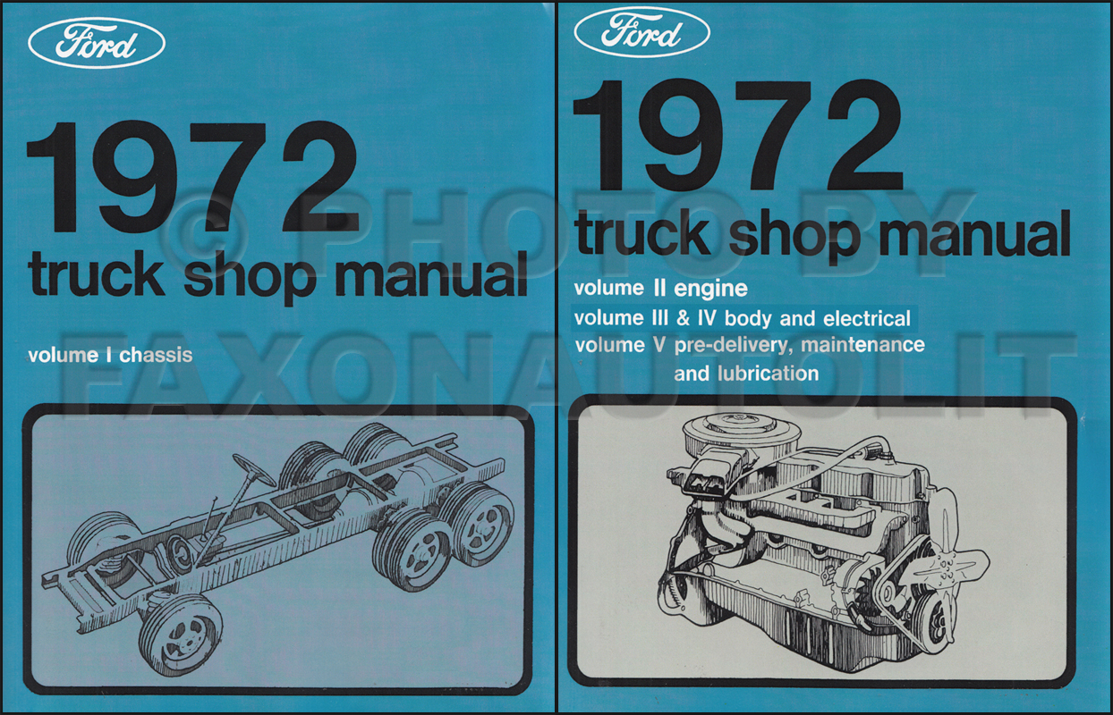 1972 Ford F100 F250 F350 Pickup Truck Foldout Wiring Diagram Original 1975 Repair Manual 5 Volume Set
