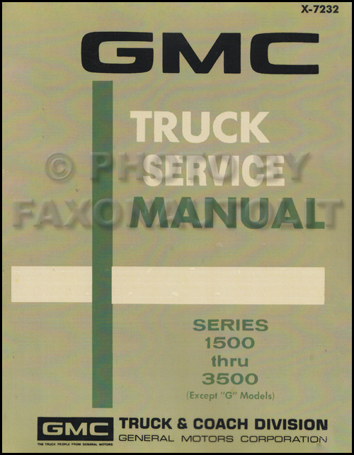 1972 GMC 1500-3500 Repair Shop Manual Reprint Pickup, Jimmy, Suburban, FC