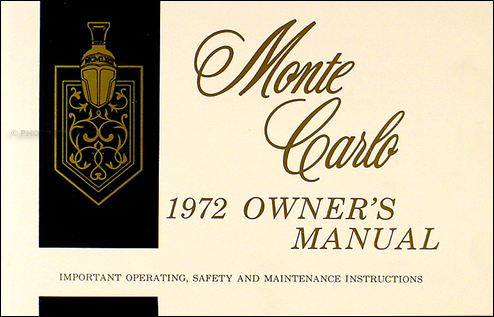 1972 Monte Carlo Owner's Manual Reprint