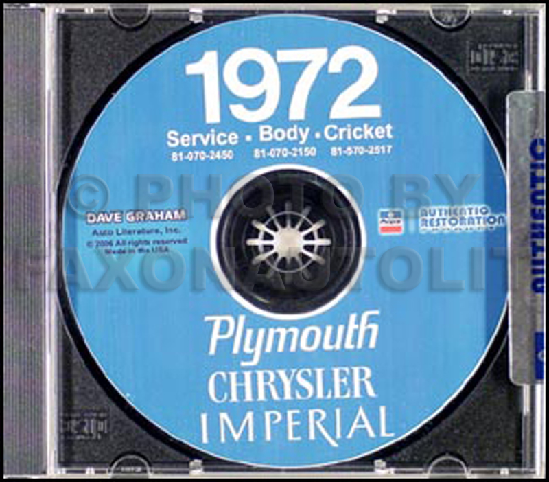 1972 Chrysler & Plymouth Shop Manual on CD-ROM