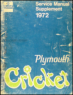 1972 Plymouth Cricket Shop Manual Supplement Original