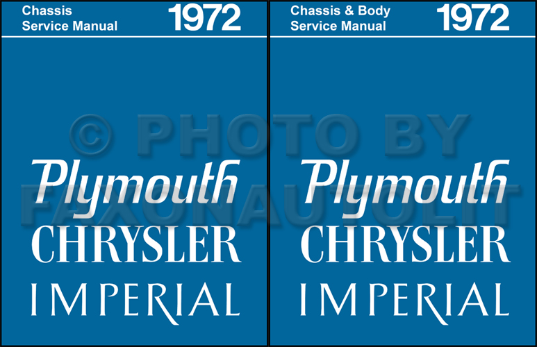 1972 Plymouth Chrysler Repair Manual Reprint Set for All Models