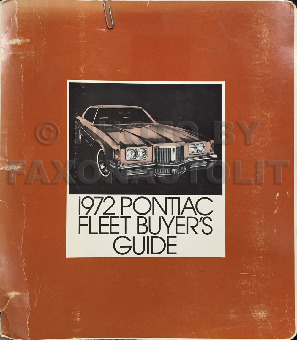 1972 Pontiac Fleet Buyer's Guide Dealer Album Original