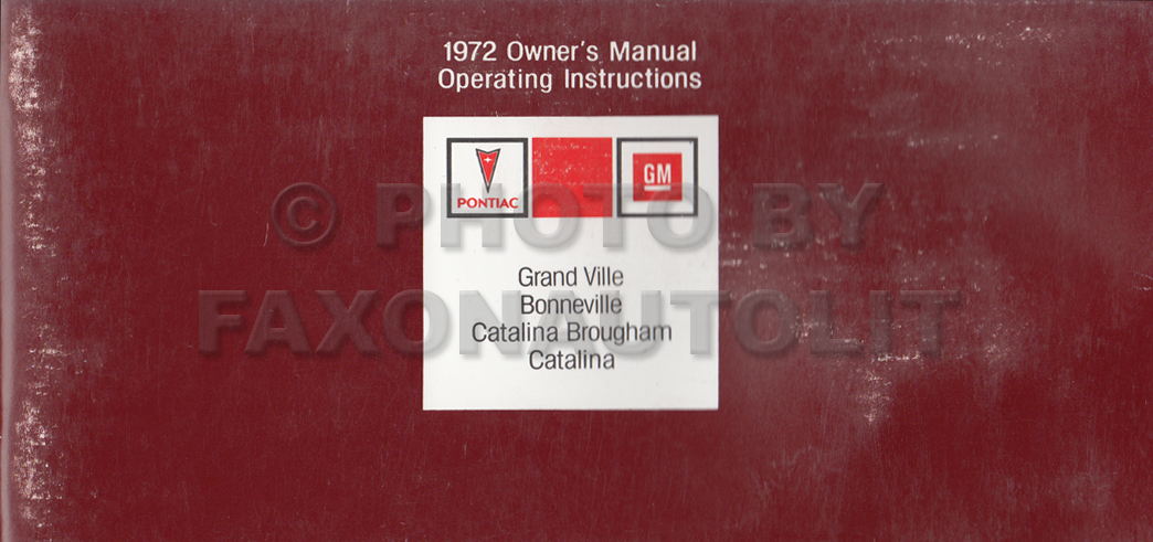 1972 Pontiac Owner Manual Bonneville Grand Ville Catalina Brougham Catalina