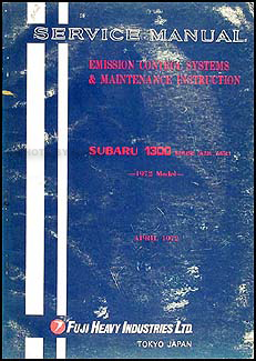 1972 Subaru 1300 Emissions & Maintenance Manual Original