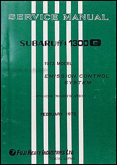 1972 Subaru 1300G Emissions & Maintenance Manual Supplement Original