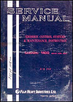1972 Subaru 1400 Emissions & Maintenance Manual Original