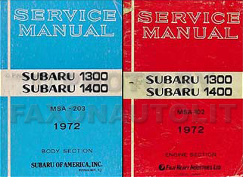 1972 Subaru 1300 & 1400 Repair Manual Original 2 Volume Set