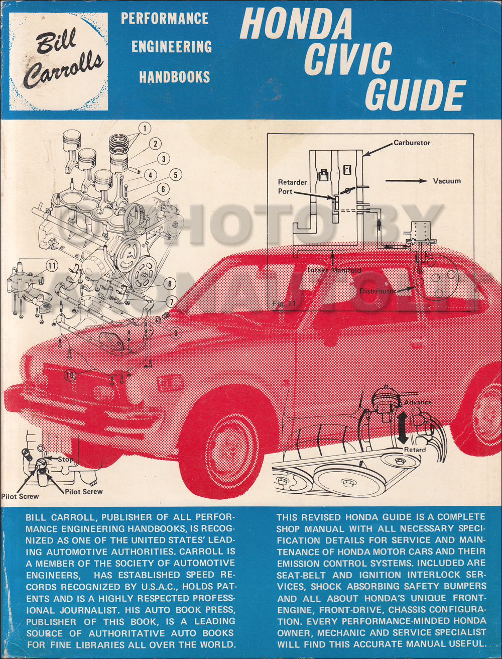 1978 Honda Civic 1200 Repair Manual Original