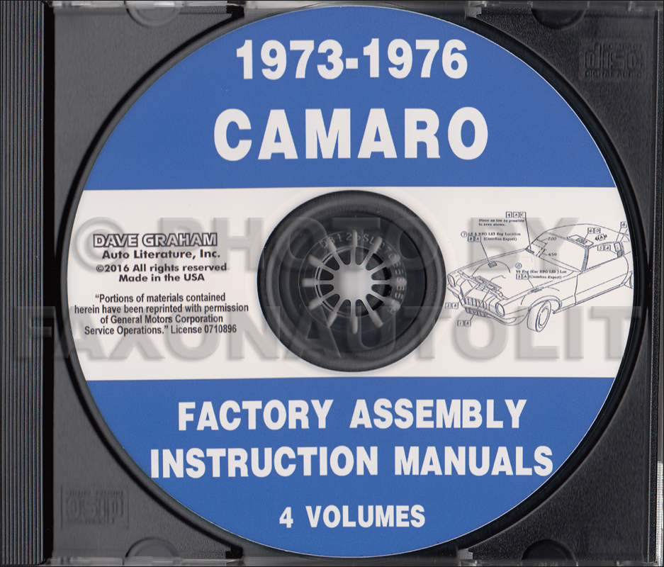 1973-1976 Camaro Factory Assembly Manuals on CD
