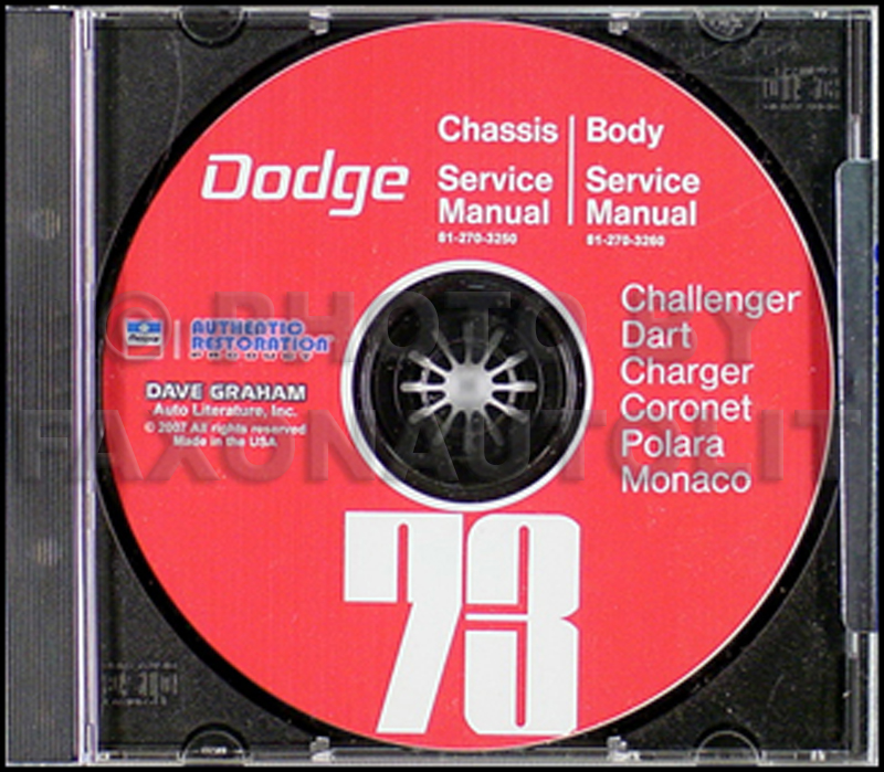 1973 Dodge Repair Shop Manual Reprint Challenger Charger Coronet Dart Polara Monaco