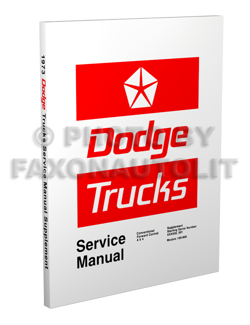 1973 Dodge Truck Repair Manual Reprint Supplement