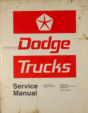 1973 Dodge Truck Shop Manual Original Supplement 100-800