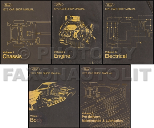 1973 Ford Lincoln Mercury All Car Repair Shop Manual Original 5 Volume Set