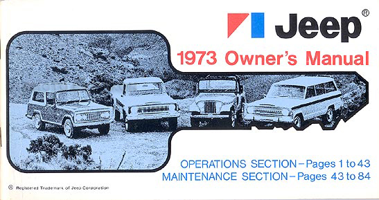1973 Jeep All Models Owner's Manual Original