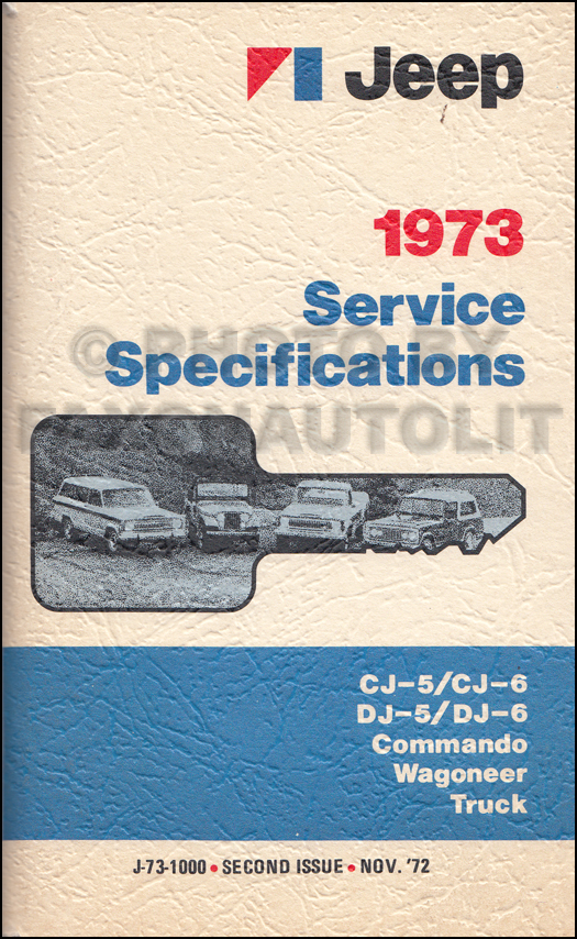 1973 Jeep Service Specifications Manual Original