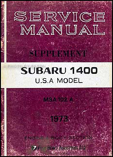 1973 Subaru 1400 Repair Manual Original Supplement