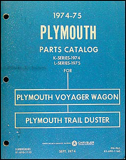 1974-1975 Plymouth Voyager Van and Trail Duster Parts Book