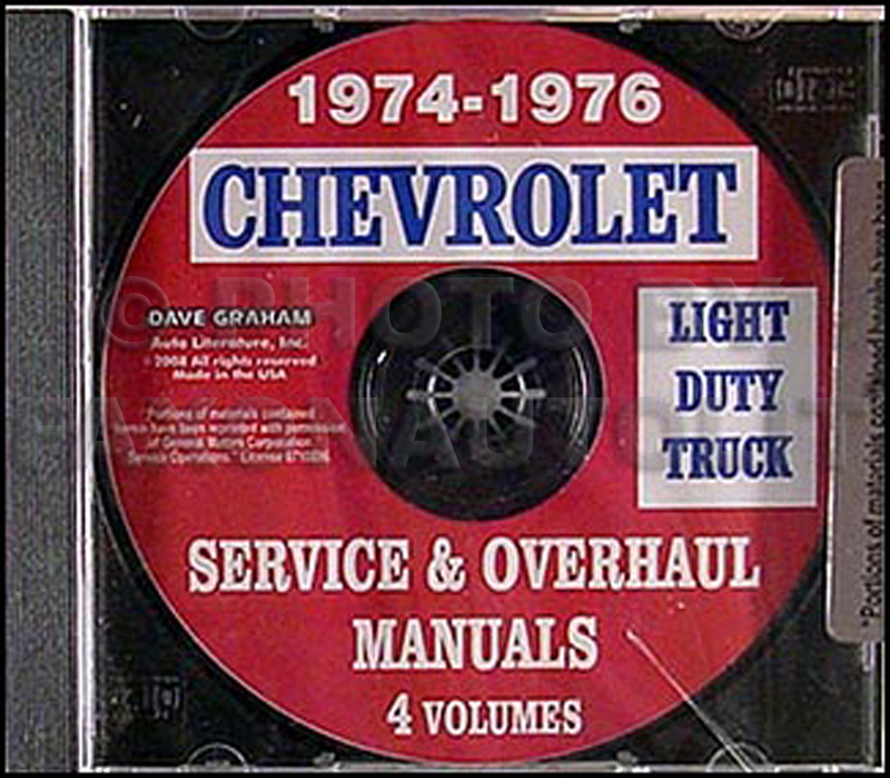 1974-1976 Chevrolet Pickup, Blazer, Van, & Suburban Shop Manual CD-ROM