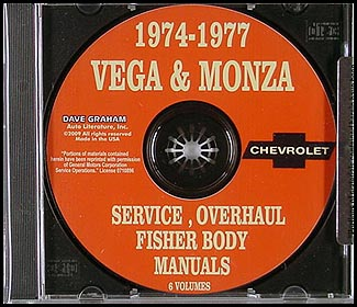 1974-1977 Vega & Monza CD Shop Manuals