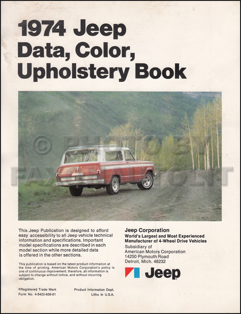 1974 Jeep Color & Upholstery Dealer Album/Data Book Original