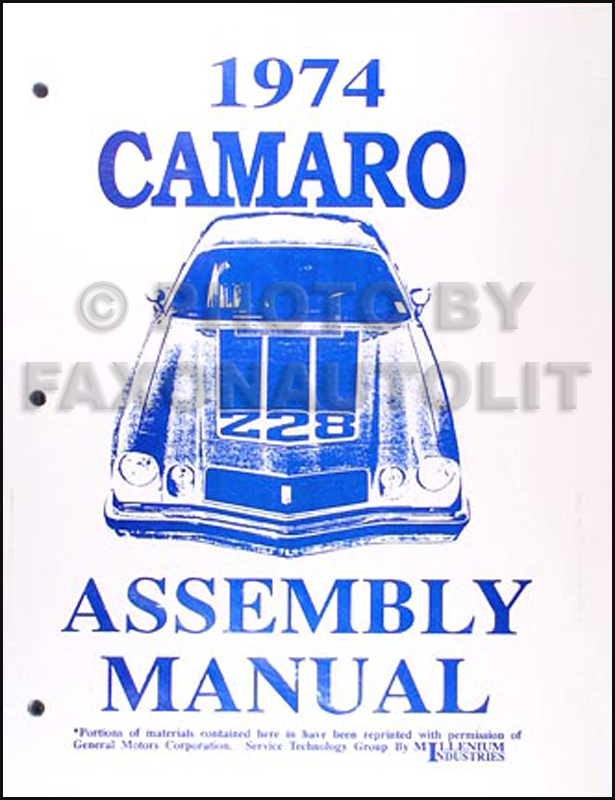 1974 Camaro Reprint Factory Assembly Manual
