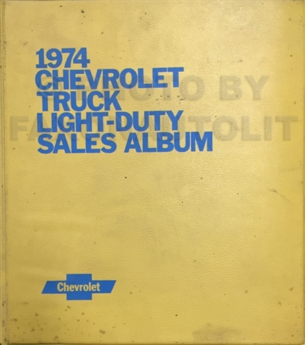 1974 Chevrolet Light Truck Data Book and Color and Upholstery Dealer Album Original
