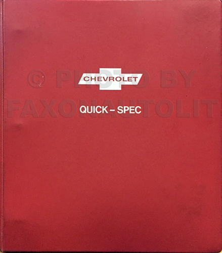 1974 Chevrolet Quick Spec Option Ordering Guide Dealer Album Original