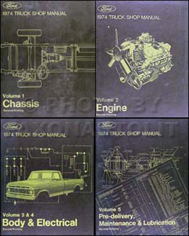 1974 Ford Truck Repair Shop Manual 5 Volume Set Pickup Van Bronco Big Truck