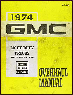 1974 GMC 1/2, 3/4, & 1 ton Truck Overhaul Manual Original