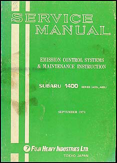 1974 Subaru 1400 Emissions & Maintenance Manual Original