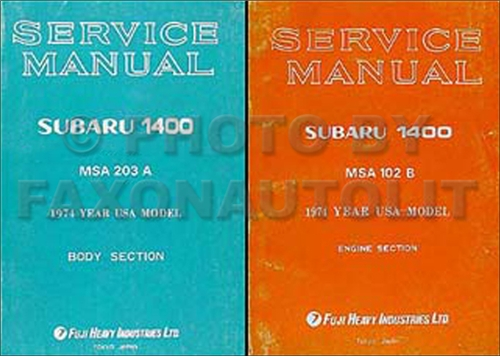1974 Subaru 1400 Repair Manual Original Supplement 2 Volume Set