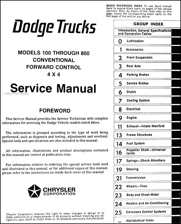 19751976 Dodge 100800 Truck Repair Shop Manual Originalrhfaxonautoliterature: 76 Dodge Wiring Diagram At Gmaili.net