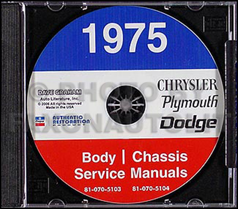1975 Chrysler, Dodge, & Plymouth CD-ROM Repair Manual Original