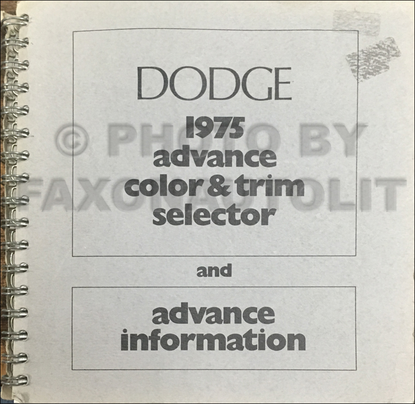1975 Dodge Advance Color & Upholstery Album Original