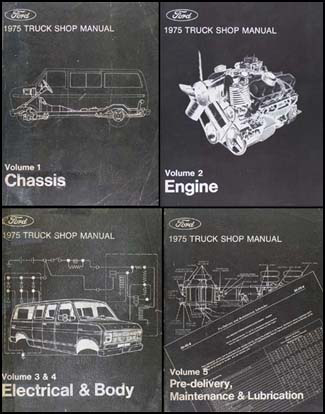 1975 Ford Truck Repair Shop Manual 5 Volume Set Pickup Van Bronco Big Truck