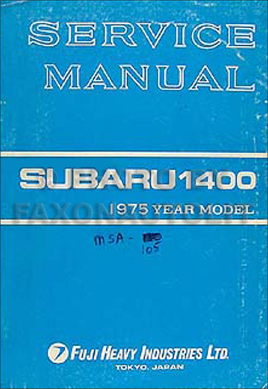1975 Subaru Repair Manual Original Supplement