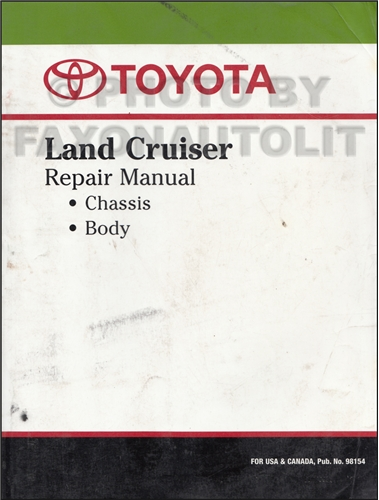 1976-1980 Toyota Land Cruiser Chassis Repair Manual Original No. 98154