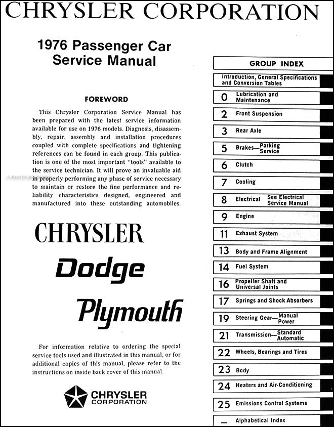 1976 Dodge  Plymouth  Chrysler Repair Shop Manual On Cd